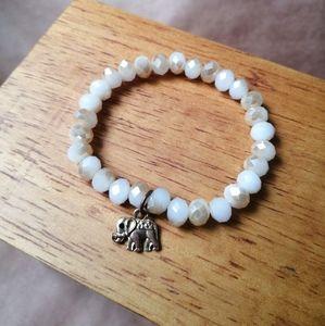 Boho pink shiny bracelet gold elephant pendant